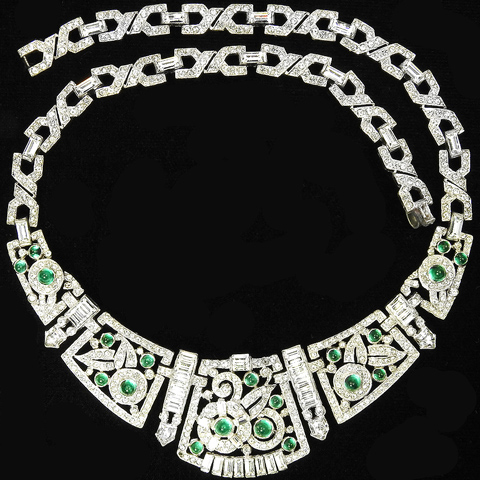 KTF Trifari 'Alfred Philippe' Deco Pave Emerald Cabochons and Diamante Baguettes Flower Circles Pattern Necklace