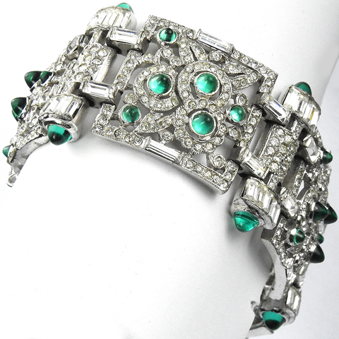 KTF Trifari 'Alfred Philippe' Deco Pave Emerald Cabochons and Diamante Baguettes Wide Flower Circles Pattern Link Bracelet