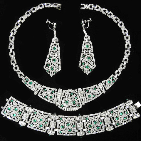 KTF Trifari 'Alfred Philippe' Deco Pave Emerald Cabochons and Diamante Baguettes Flower Circles Pattern Necklace Bracelet and Pendant Screwback Earrings Set