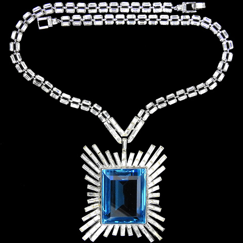 Trifari 'Alfred Philippe' Giant Square Cut Blue Topaz Starburst Necklace