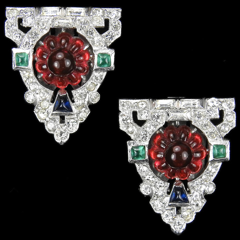 KTF Trifari 'Alfred Philippe' 'Sheherazade' 1930s Jewels of India Pave Ruby Fruit Salads and Cushion Cut Rubies and Emeralds Pair of Dress Clips