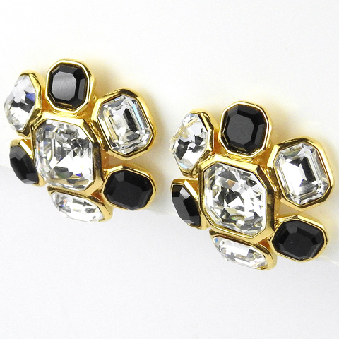 Trifari TM Diamante and Onyx Octagon Cut Clusters Clip Earrings
