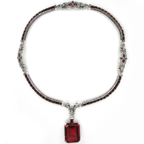 Trifari 'Alfred Philippe' Invisibly Set and Table Cut Rubies Pendant Necklace