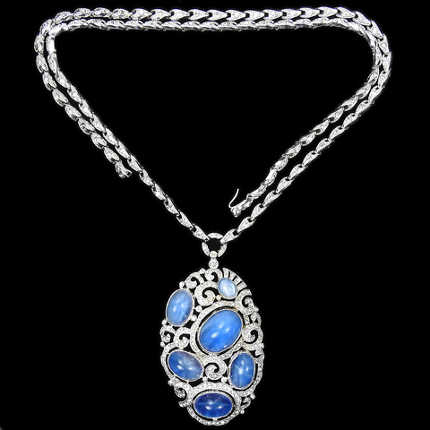 KTF Trifari 'Alfred Philippe' Pave Openwork Oval with Six Star Sapphires Pendant Necklace