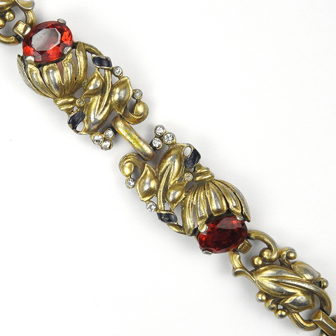 Trifari 'Alfred Philippe' Gold Leaves Blue Enamel and Two Ruby Bell Flowers Bracelet