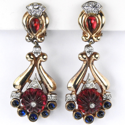 Trifari 'Alfred Philippe' Moghul Jewels 'Scheherazade' Ruby and Sapphire Pendant Clip Earrings