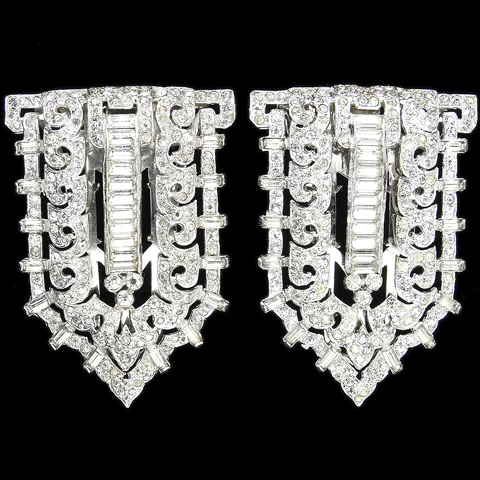 KTF Trifari 'Alfred Philippe' Pave Openwork and Baguettes Shields Pair of Deco Dress Clips