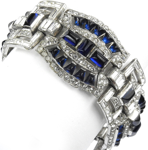 Trifari 'Alfred Philippe' Openwork Baguettes and Cushion Cut Sapphires Deco Link Bracelet