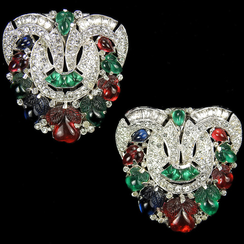 KTF Trifari 'Alfred Philippe' 1930s Jewels of India Tricolour Fruit Salads and Cushion Cut Emeralds Pair of Deco Dress Clips