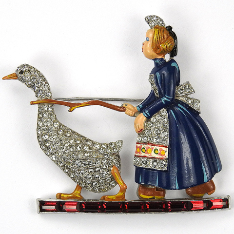 Trifari 'Joseph Wuyts' Pave Enamel and Invisibly Set Rubies Dutch Girl Herding a Goose Pin