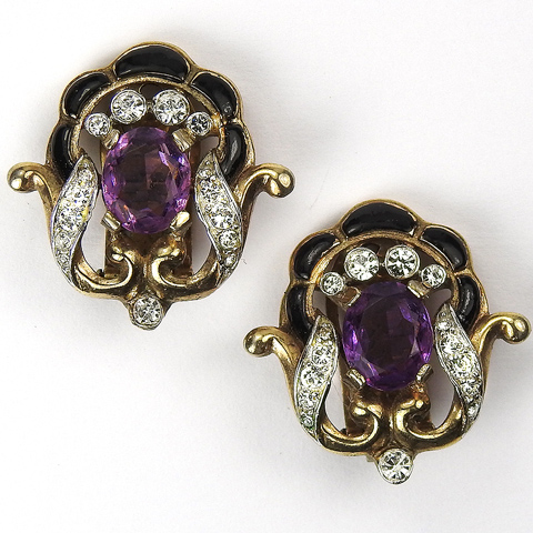 Trifari 'Alfred Philippe' Pave Amethyst Black Enamel and Gold Scrolls Clip Earrings