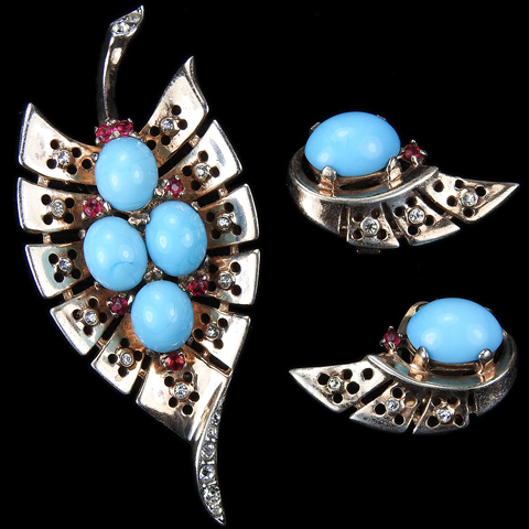 Trifari Sterling 'Alfred Philippe' Gold Diamante and Ruby Spangles Turquoise Cabochons Leaf Pin and Clip Earrings Set