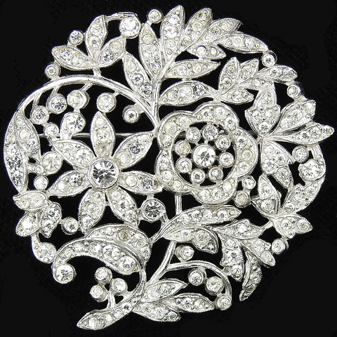 Trifari 'Alfred Philippe' Pave Openwork Circular Flowers and Leaves Scene Pin