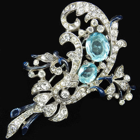 Trifari 'Alfred Philippe' Pave Enamel and Aquamarines Floral Swirl Pin Clip