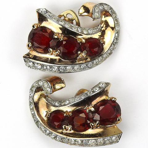 Trifari Sterling 'Alfred Philippe' Triple Rubies Swirl Clip Earrings