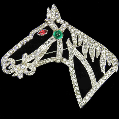 KTF Trifari 'Alfred Philippe' Pave Openwork Horse Head Pin