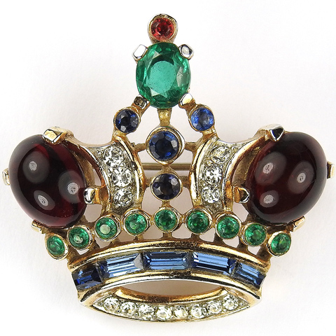 Trifari 'Alfred Philippe' Gold Ruby Cabochons Emeralds and Sapphire Baguettes Medium Royal Crown Pin