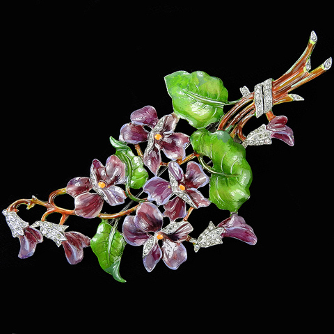 Trifari 'Alfred Philippe' Pave and Enamel Large Purple Pansies and Green Leaves Floral Spray Pin Clip