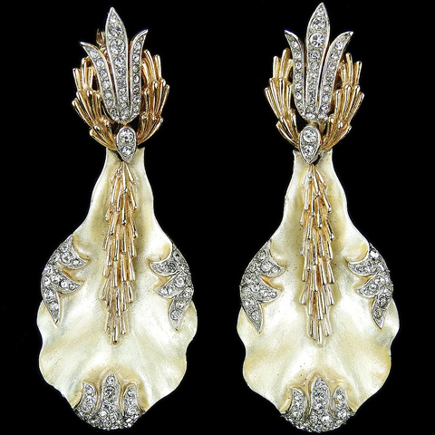 Trifari 'Alfred Philippe' Gold Pave and Mother of Pearl Swaying Coral and Seaweed Pendant Clip Earrings