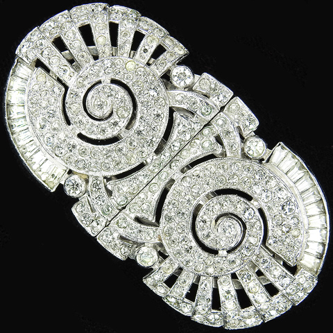KTF Trifari 'Alfred Philippe' Pave Baguettes and Openwork Spirals Pair of Dress Clips or Clipmate Pin