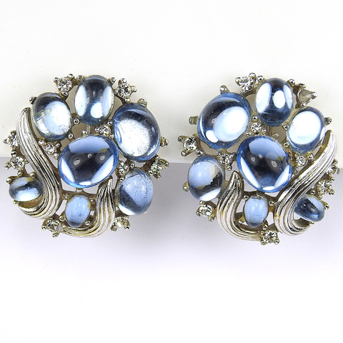 Trifari 'Alfred Philippe' 'Jewels of Fantasy' Gold Swirls and Blue Mirrored Cabochons Clip Earrings