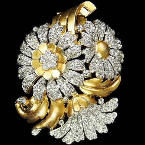 Trifari 'Alfred Philippe' Gold and Pave Triple Flower Floral Spray Pin Clip
