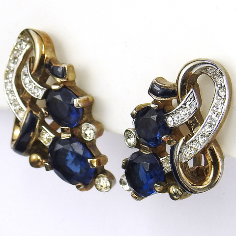 Trifari 'Alfred Philippe' Pave Black Enamel and Sapphire Swirls Clip Earrings