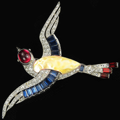 Trifari 'Alfred Philippe' Pearl Belly and Invisibly Set Sapphires Flying Bird Pin
