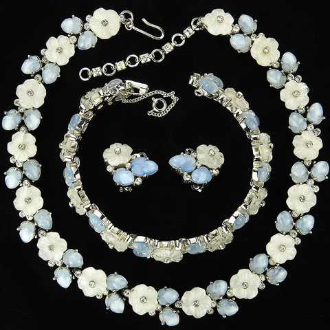 Trifari 'Alfred Philippe' 'Bois de Boulogne' Blue and White Pastel Fruit Salad Flowers Necklace Bracelet and Clip Earrings Set