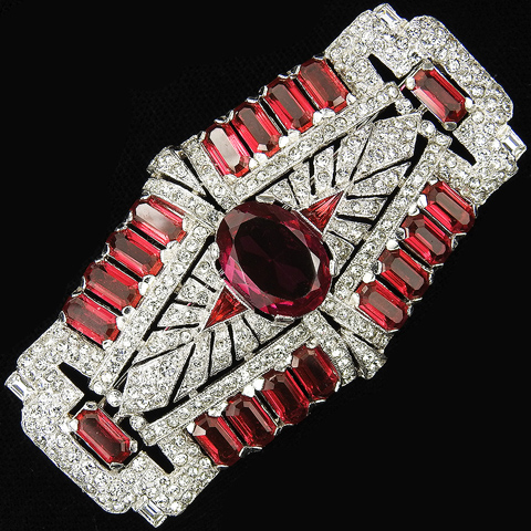 KTF Trifari 'Alfred Philippe' Deco Pave Diamante and Rubies Openwork Oblong Starburst Bar Pin