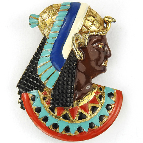 Trifari 'Alfred Philippe' Gold and Enamel Egyptian Pharaoh in Profile with Bird Headdress Pin Clip