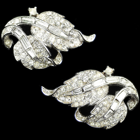 Trifari 'Alfred Philippe' Pave and Baguettes Double Leaf Swirl Clip Earrings
