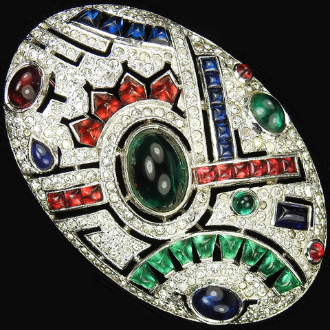 KTF Trifari 'Alfred Philippe' 1930s Jewels of India Pave and Multicolour Cabochons Openwork Oval Bar Pin