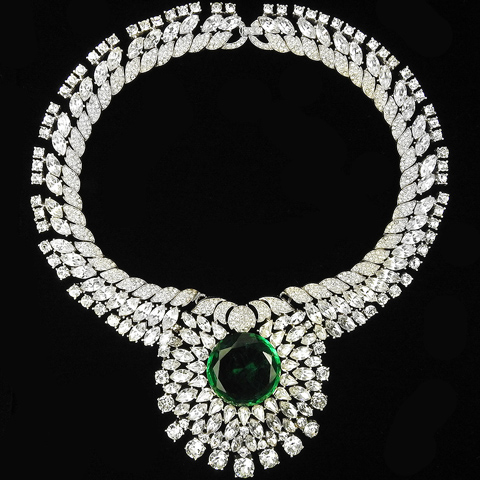 Trifari 'Alfred Philippe' Giant Pave Chatons and Diamond Cut Emerald Collar Necklace