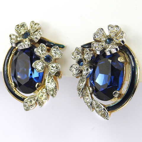 Trifari 'Alfred Philippe' Sapphire Pave Flower Swirl Clip Earrings