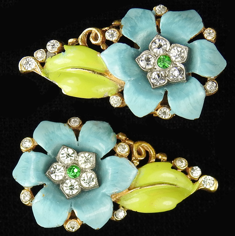 Trifari 'Alfred Philippe' Blue Carnation Flowers and Leaves Clip Earrings