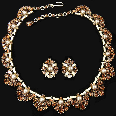Trifari 'Alfred Philippe' 'Maharajah' 1950s Jewels of India Gold Topaz and Pearls Necklace and Clip Earrings Set