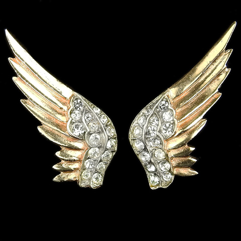 Trifari Sterling 'Alfred Philippe' WW2 US Patriotic Gold and Pave Patriotic Eagle Wings Screwback Earrings