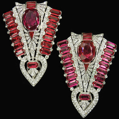 KTF Trifari 'Alfred Philippe' Deco Pave and Ruby Pair of Chevron Dress Clips