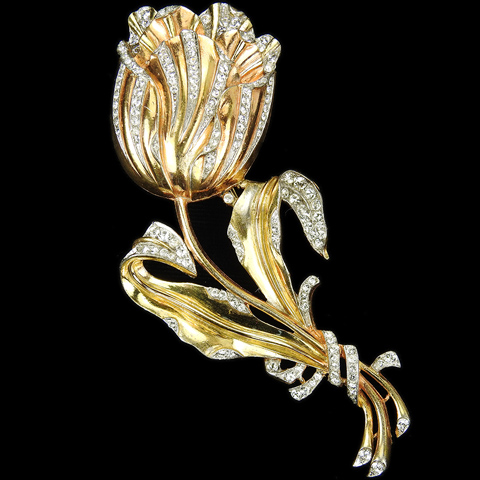 Trifari 'Alfred Philippe' Pave and Yellow Gold Tulip Flower Pin