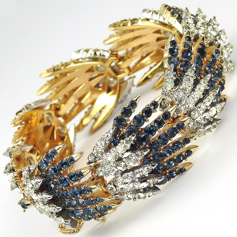 Trifari 'Alfred Philippe' 'Starflight' 'Fireworks' Sapphire and Diamante Shooting Star Bracelet