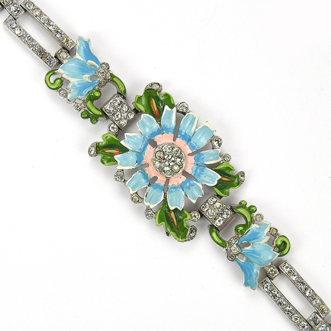 Trifari 'Alfred Philippe' Pave and Enamel Blue and Pink Daisy Bracelet