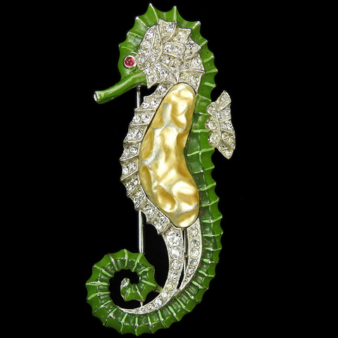 Trifari 'Alfred Philippe' Pave Enamel and Pearl Belly Seahorse Pin Clip