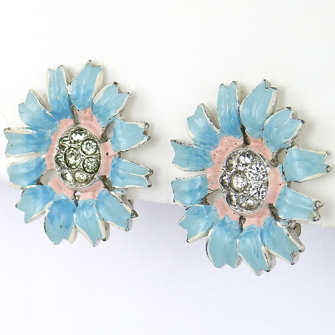 Trifari 'Alfred Philippe' Pave and Enamel Blue and Pink Daisy Clip Earrings