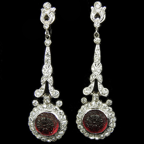 KTF Trifari 'Alfred Philippe' Pave Scrolls and ruby Fruit Salads Pendant Screwback Earrings