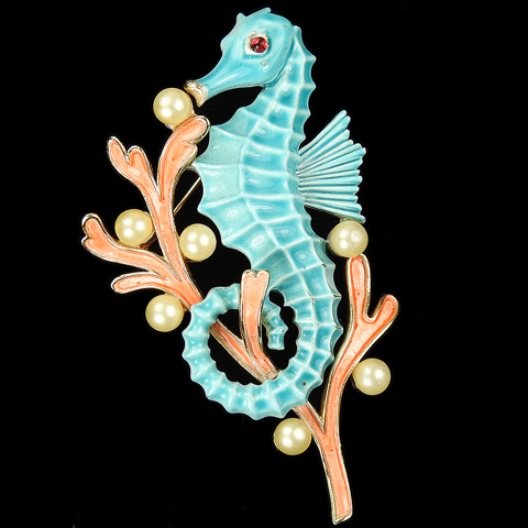 Trifari 'Alfred Philippe' Pink Coral and Pearls Blue Seahorse Pin