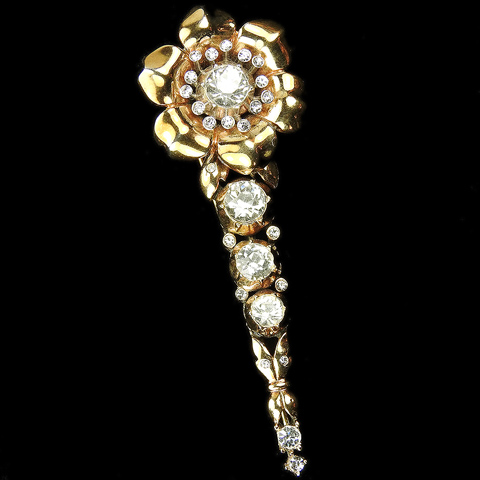 Trifari 'Alfred Philippe' Gold and Diamante Golden Rose on a Single Stem Pin