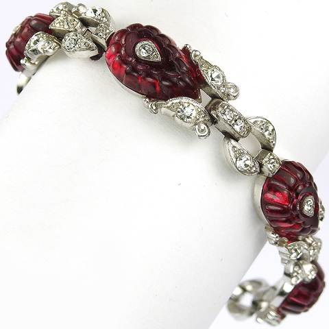 Trifari 'Alfred Philippe' Pave and Teardrop Ruby Fruit Salads Shoebutton Link Bracelet