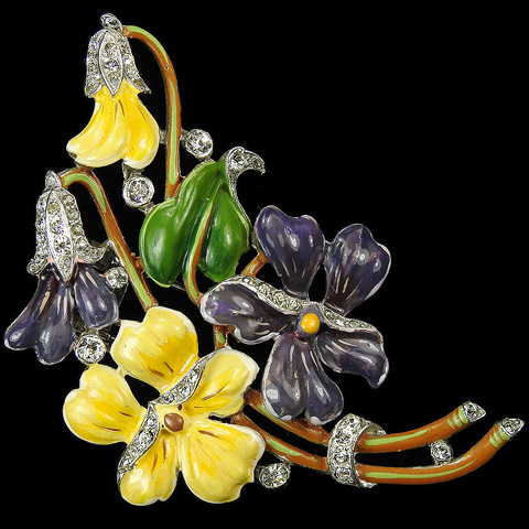 Trifari 'Alfred Philippe' Pave and Enamel Floral Spray of Pansies Pin Clip