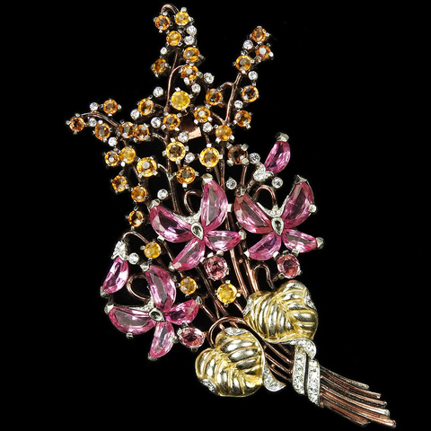 Trifari 'Alfred Philippe' Two Colour Gold, Citrine and Topaz Flowers and Pink Topaz Demilunes Floral Spray Pin Clip